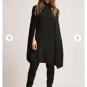 Turtleneck Cape Sweater Dress
